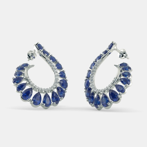 American Jewelery Designs Small Blue Sapphire Hoop Earrings vKfWena