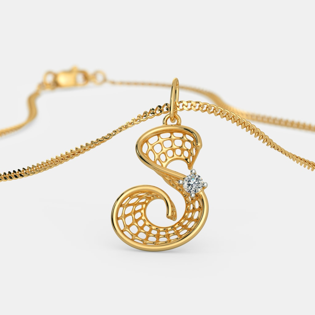 gold diamond necklace letter initial in pendant rose s
