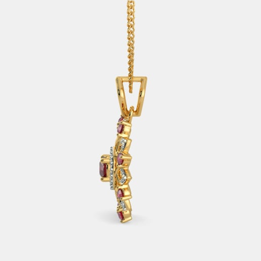 Diamond And Ruby Pendant In Yellow Gold (2.46 Gram) With Diamonds (0.103 Ct)