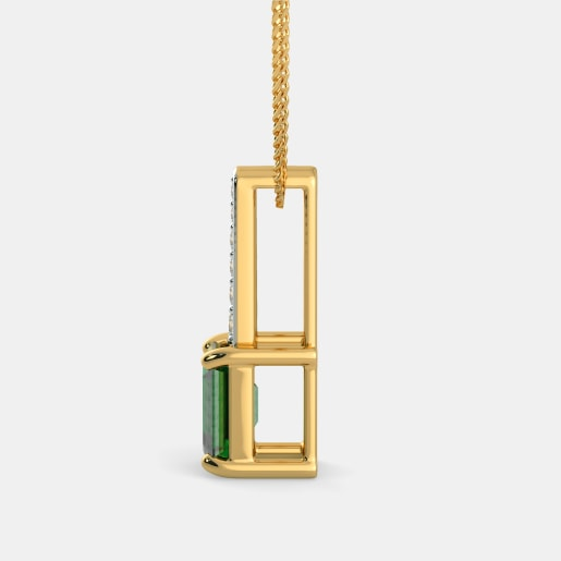Emerald And Diamond Pendant In Yellow Gold (1.11 Gram) With Diamonds (0.093 Ct)