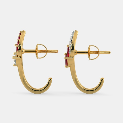 Diamond And Ruby Earring In Yellow Gold (2.96 Gram) With Diamonds (0.177 Ct)