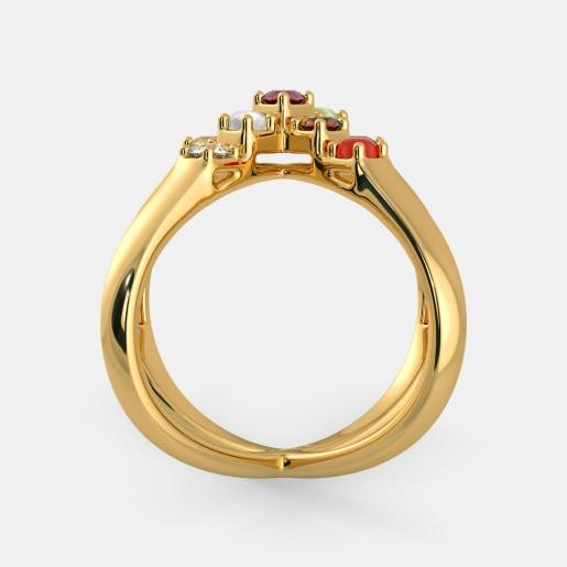 Diamond And Navaratna 1 Ring In Yellow Gold (6.5 Gram) With Diamonds (0.069 Ct)