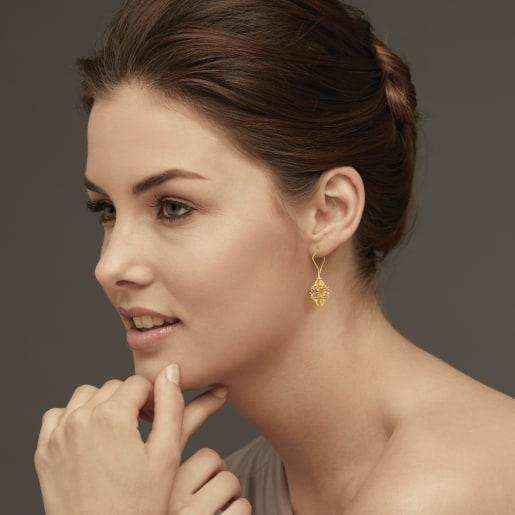 Pink Tourmaline Earring In Yellow Gold (8.12 Gram)