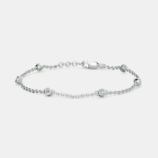 Diamond Bracelet In White Gold (3.54 Gram) With Diamonds (0.414 Ct)