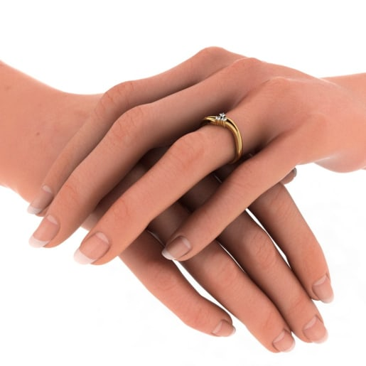 Diamond Ring In Yellow Gold (2.158 Gram) With Diamonds (0.045 Ct)