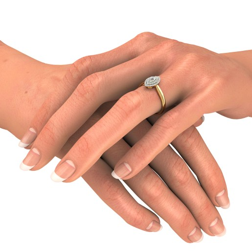 Diamond Ring In Yellow Gold (2.85 Gram) With Diamonds (0.215 Ct)